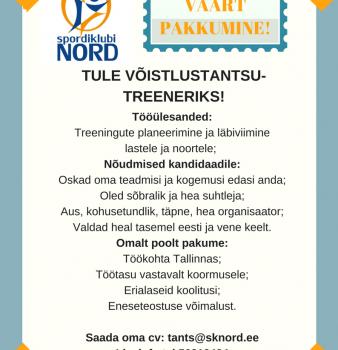 Tööpakkumine VÕISTLUSTANTSUTREENERILE!